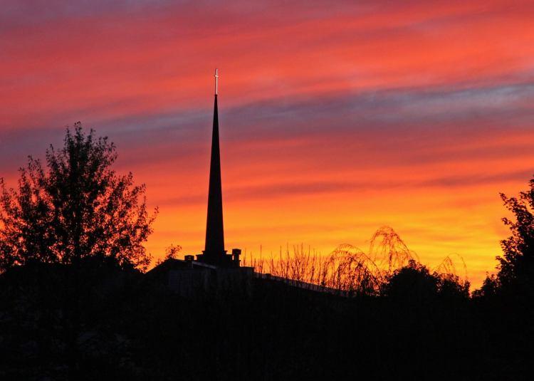 sunset over christ church